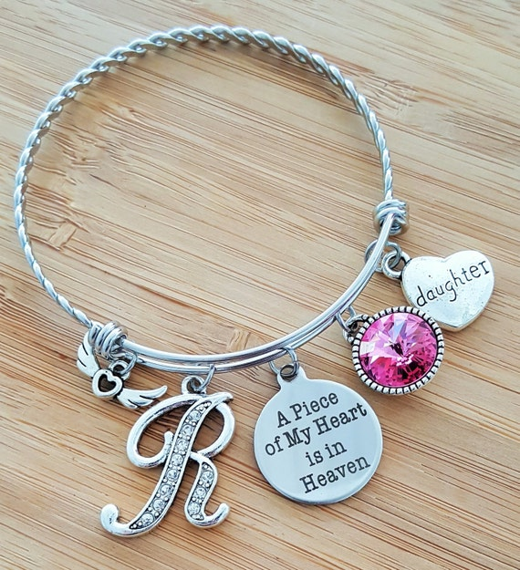 Sympathy Bracelet Sympathy Gift In Memory of Daughter Memorial Bracelet Loss of Daughter Loss of a Child Remembrance Bracelet Heart Heaven