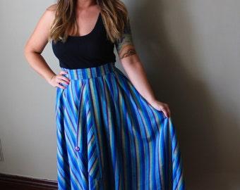 80's Circle Striped Skirt