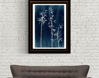 Indigo Print, Navy Blue Print, Botanical Prints, Blue and White, Scandinavian Print, Plant Photograph, Alternative Photography, Minimalist