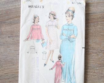 Vintage sewing pattern, 60s Nightie & Bed jacket pattern, Nightie Pajamas 1960s dressmaking, Size Small, Weigel's Pattern 2482