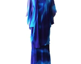 Vintage Tie Dye Bias Cut Silk Gown With Capelet 1970s