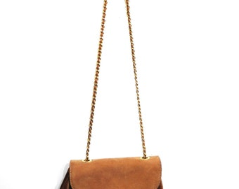 Vintage Tan and Beige Suede Leather Small Bag With Gold Chain Strap