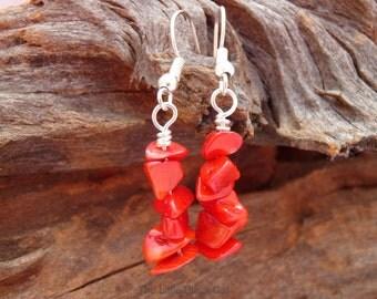 Coral Earrings, Red Earrings, Gemstone Earrings, Dangly Earrings, semi precious, ladies gift, bamboo coral, present, coral anniversary, gem