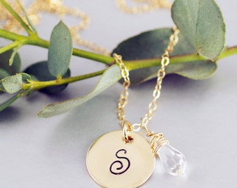 Gold Initial Necklace, Personalized Initial Necklace, April Birthstone Necklace, 14kt Gold Filled,  Clear Crystal Birthstone Necklace