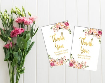 Gold Boho Personalized Favor Gift Tags, Printable Custom Floral Wedding Favor Tags, Peonies Favor Tags, Floral Thank You, Download, 110-G
