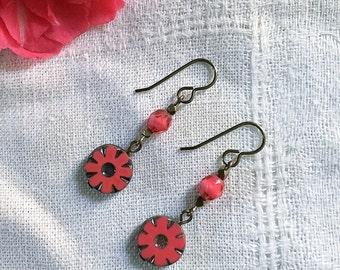 Hot Pink Daisy Earrings