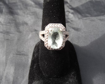 Sterling Silver Ring With Green Stone/Glass and CZ/Quartz 7.9 Grams Size 7.25