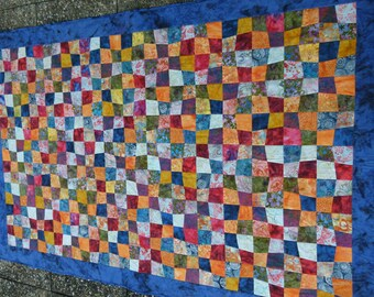 Patchwork quilt of colorful squares