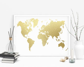 Gold printable map etsy gold foil world map printable large gold foil print gold map gold foil gumiabroncs Choice Image