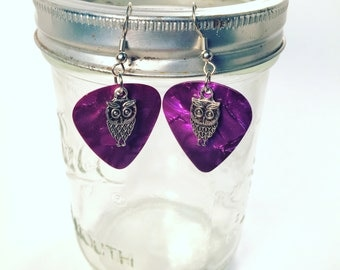 Guitar Pick Dangle Earrings with Charms MULTIPLE COLORS