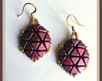 Tortoiseshell colour plum and Gold Earrings