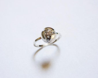 ring blooming flower , 925 silver stealing ,CZ, for wedding,gift for her