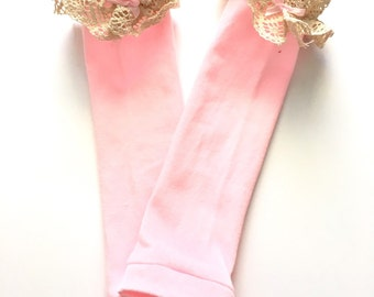 Pink lace baby leg warmers