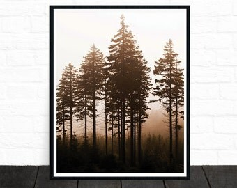 Tree Art, Tree Wall Art, Large Print, Tree Print, Fog, Forest Art, Forest Photo, Wilderness, Tree Photography, Nature Wall Art, Printable