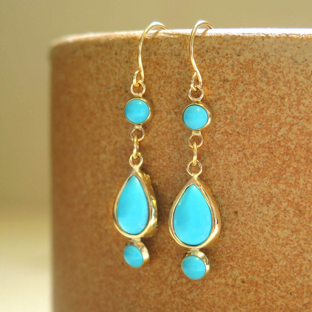 dangle turquoise earrings solid gold earrings gold dangle. Black Bedroom Furniture Sets. Home Design Ideas