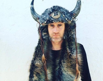 Viking Horns Festival Headpiece Fur Hat By ShapeShifters