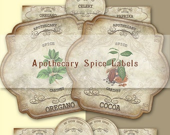 Herbal Apothecary Labels,Spice Labels,Vintage labels,Hobby crafting,Printable Digital Graphics,Instant download digital collage sheet.