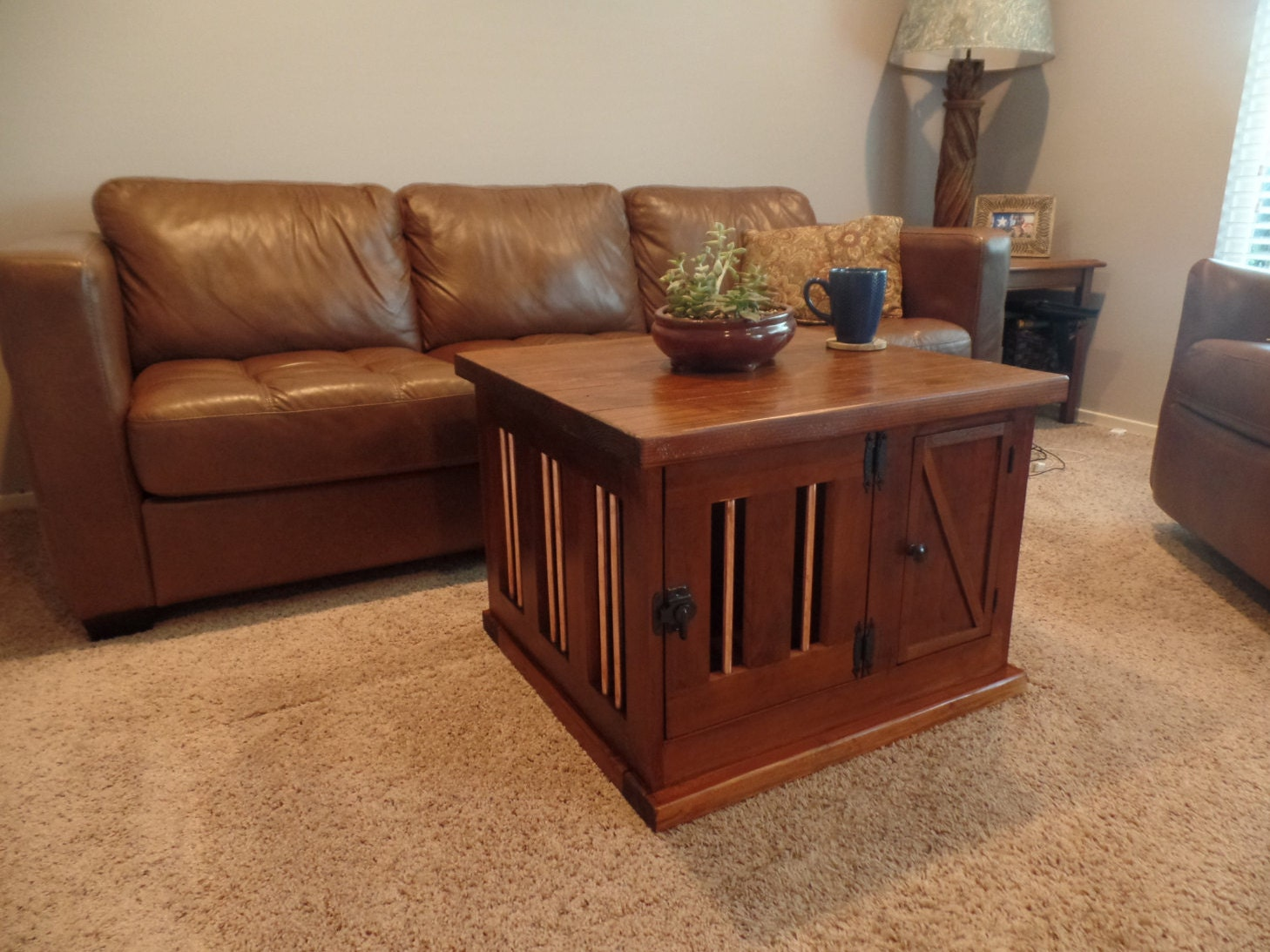 Dog crate coffee endtable furniture