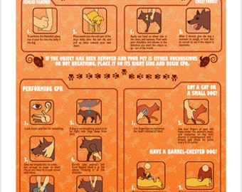 Pet CPR Instructional Poster 24x36 Unique Educational Animal-friendly Hot New
