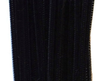 Black Pipe Cleaners, 150mm x 4mm, 50 pieces