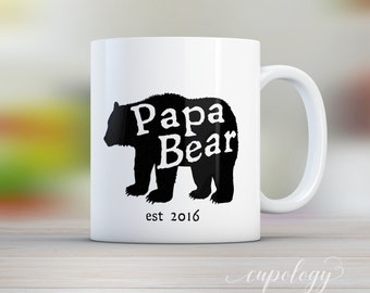 Fathers Day Gift, Papa Bear Mug, Bear Mug, Est Date, Father to Be, Coffee Mug, Gift for Dad, gift from kids, baby shower gift
