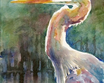 Blue heron, marsh bird, print of watercolor painting