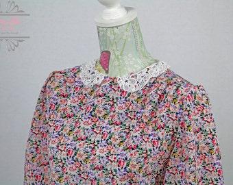 Vintage Pink Floral Lace Collar Pleat Skirt Dress Size M/L