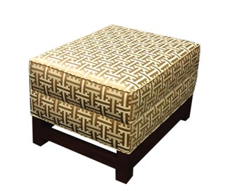 Ottoman with wood base