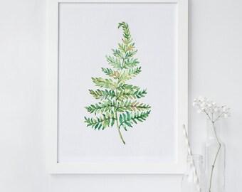 Fern wall art, Plant wall art, Leaf print, fern wall decor, printable wall art print, Office wall decor, Nursery wall art, instant art