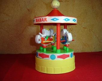 Manège Babar Educalux. Elephant carousel.  Jouet vintage. Jeu ancien. Old  toy. France