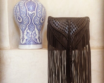 Big Boho Leather Fringe Shoulder Bag - Handmade in Morocco