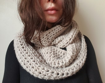 SALE Handmade Cozy Chunky Cowl Scarf, Snood, Neckwarmer in Oatmeal