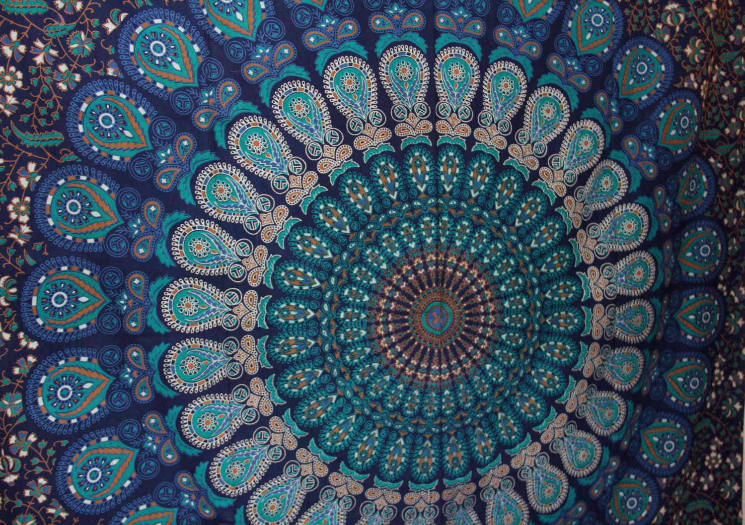twin tapestry fabric with blues mandala bohemian boho 12b. Black Bedroom Furniture Sets. Home Design Ideas