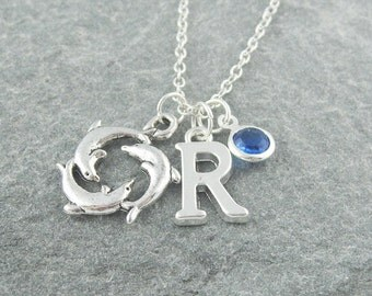 Dolphin necklace, silver dolphin circle, initial necklace, swarovski birthstone, personalized jewelry, birthstone necklace, nautical jewelry