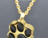 Cremation Urn Pendant  Keepsake Charm Necklace  24k Gold Plated Pawprint  Holds AshesFur  EngravingPersonalisedBespoke Cat Dog Vial