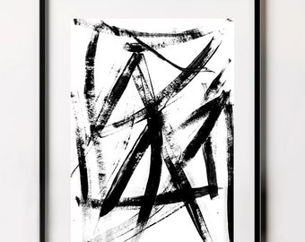 Brush Stroke Poster, Abstract Digital Poster, Downloadable Black and White Wall Art, Minimalist Digital Print