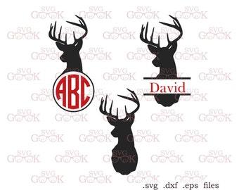 Deer Head Monogram Frame Svg Dxf cut files, Antlers Monogram Frame svg cut files for Cricut Silhouette, Deer svg