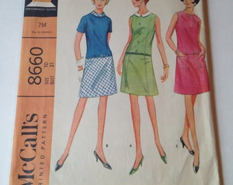 McCall's 8660 Vintage Cut Sewing Pattern Drop Waist Shirt Dress With Collar Size 10