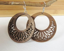 Wood Hoop Earrings, Lace Earrings, Handmade Earrings, Filigree Earrings, Unique Hoops,  Ornate Earrings, Carved Earrings, Lightweight Hoops