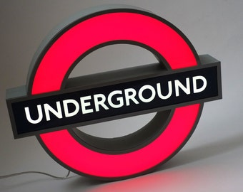 London Underground tube home decor neon sign, night light, unique wall lamp, personalized gift, subway art