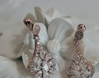 Bridal wedding earrings, pink gold filled , Swarovski crystal