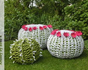 Cactus pouf cover, beanbag cover, green with white spines, plant floor pillow, made to order, limited edition