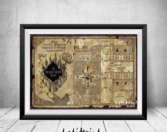 Marauder's Map Print, Marauders Map, Harry Potter Print, Harry Potter Wall Art Decor, Printable Art, Nursery Decor, Harry Potter Art, Prints