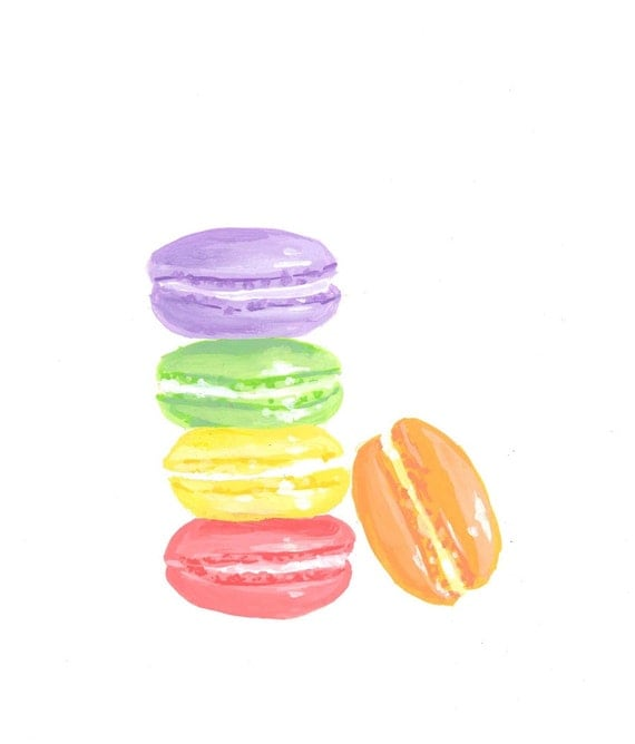 Bonjour Sweet Thing! Macaron, Art Print, Rainbow Art, French Dessert, Cute Kitchen Decor Art Print 5x7