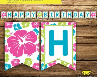 DIGITAL INSTANT DOWNLOAD - Hawaiian Birthday Party Banner - Hawaiian Flower - Pink, Green & Turquoise