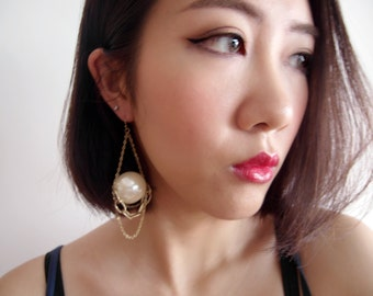 Big Pearl Gold Cluster Earrings