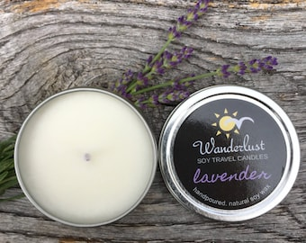 Lavender ~ Wanderlust ~ Soy Travel Candles ~ 2oz tin w/lid