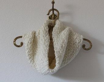 Cream linen-stitch hand knit cowl