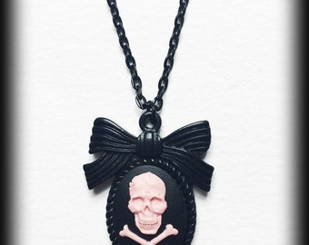 Gothic Cameo  Necklace - Pink Skull and Crossbones