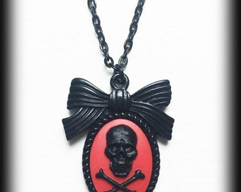 Gothic Punk Cameo Necklace - Black and Red Skull and Crossbones